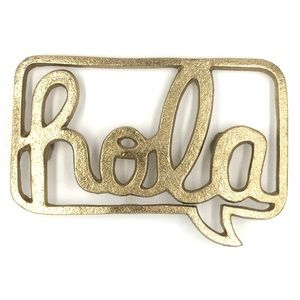 Hola gold metal speech bubble entryway art sign